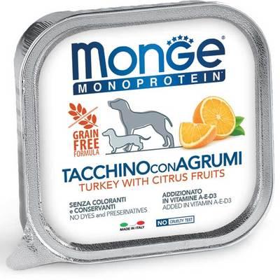 Monge Dog Monoprotein Fruits консервы для собак паштет из индейки с цитрусовыми 150г (фото)