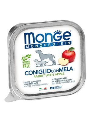 Monge Dog Monoprotein Fruits консервы для собак паштет из кролика с яблоком 150г (фото)