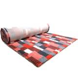ProFleece меховой коврик на нескользящей основе, рисунок Клетка, цвет красный с угольным