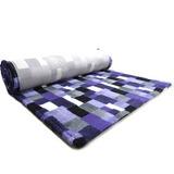 ProFleece меховой коврик на нескользящей основе, рисунок Клетка, цвет фиолетовый с угольным