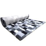 ProFleece меховой коврик на нескользящей основе, рисунок Клетка, цвет черный с белым