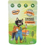 Мнямс сочные кусочки для кошек с курицей «Фермерская ярмарка» линия Кот Федор 85г