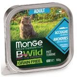 Monge Cat Bwild Grain free консервы из анчоусов с овощами для кошек 100г