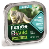 Monge Cat Bwild Grain free консервы из трески с овощами для кошек 100г