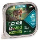 Monge Cat Bwild Grain free консервы из тунца с овощами для стерилизованных и домашних кошеккошек 100г