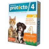 Neoterica Protecto Капли на холку для кошек, собак и кроликов до 4 кг, от клещей, блох и их личинок, комаров, 2 шт. в уп. (Неотерика Протекто)