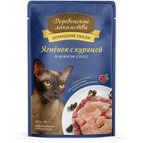 Деревенские лакомства консервы для кошек Домашние обеды: Ягненок с курицей в нежном соусе