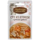 Деревенские лакомства консервированное лакомство для кошек Суп из курицы с креветкой и гребешком
