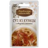 Деревенские лакомства консервированное лакомство для кошек Суп из курицы с говядиной и шпинатом