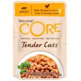 Welness Core TENDER CUTS паучи из курицы с куриной печенью в виде нарезки в соусе для кошек
