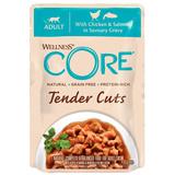 Welness Core TENDER CUTS паучи из курицы с лососем в виде нарезки в соусе для кошек