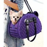 Ibiyaya складная сумка-переноска для собак и кошек до 6 кг фиолетовая Diamond Deluxe Pet Carrier – Dark Purple