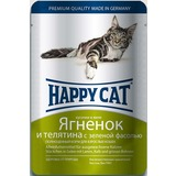 Happy Cat Ягненок, телятина и зеленая фасоль - полноценный корм для взрослых кошек всех пород и возрастов
