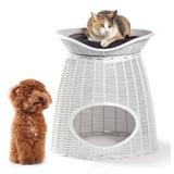 BAMA PET домик для кошек PASHA 52х60х46/55h см, с подушечками, белый