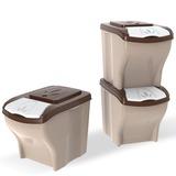 BAMA PET контейнеры для хранения 5-7 кг корма POKER 20л 45х40х28h см, 3 шт. в комплекте, бежевый
