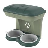 BAMA PET миска для собак настенная двойная 1600 мл 48х27х42h см, зеленая