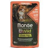 Monge Cat BWild GRAIN FREE паучи из лосося с креветками и овощами для стерилизованных кошек