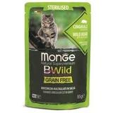 Monge Cat BWild GRAIN FREE паучи из мяса дикого кабана с овощами для стерилизованных кошек