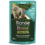 Monge Cat BWild GRAIN FREE паучи из трески с креветками и овощами для взрослых кошек