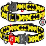 """Collar ошейник WAUDOG Nylon с рисунком """"Бэтмен Лого"""", металлическая пряжка-фастекс с площадкой для гравировки и адресник с QR кодом"""