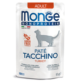 Monge Cat Monoprotein паучи для взрослых кошек из индейки 85 г