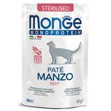 Monge Cat Monoprotein паучи для стерилизованных кошек из говядины 85 г