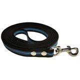 R-Dog прорезиненный нейлоновый поводок (с латексной нитью) повышенной плотности, усиленный карабин, черный с голубым