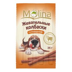 Жевательные колбаски для собак Molina «С говядиной»