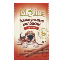 Жевательные колбаски для собак Molina «С уткой», 36 гр.