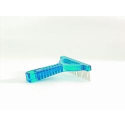 IPTS Расческа-грабли с вращающимися зубчиками голубая