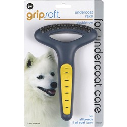 J.W. GripSoft Double Row Undercoat Rake Расческа-грабли для собак, с двумя рядами зубьев