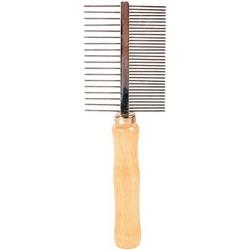 Trixie Расческа двухсторонняя 18см с деревянной ручкой с редкими и зубцами средней частоты, арт. 2396