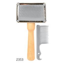 Trixie Щетка-пуходерка мягкая 13 х 6 см с деревянной ручкой + расческа , арт. 2353