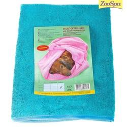 ZOOSPA полотенце для животных из микрофибры 60 х 100 см голубое