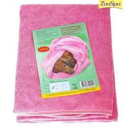 ZOOSPA полотенце для животных из микрофибры 60 х 100 см розовое