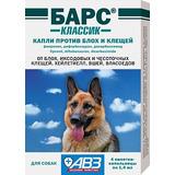 Инсектоакарицидные капли (от блох и клещей) для собак «Барс», 4 пипетки (1 пипетка на 10 кг)