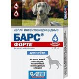 Барс Форте капли инсектоакарицидные (от блох и клещей) для собак, 4 пипетки (1 пипетка на 10 кг)