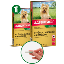 Bayer Advantix Адвантикс капли от блох и клещей, для собак от 1,5 кг до 4 кг