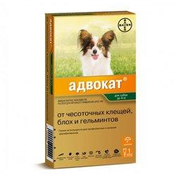 Bayer Advocate Адвокат® капли на холку для собак от чесоточных клещей, блох и гельминтов, для собак до 4 кг, 3 пипетки в уп.