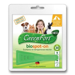 Green Fort Neo БиоКапли для кошек, кроликов и собак до 10 кг, 1 пипетка