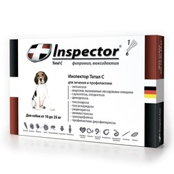 Inspector Капли для собак от 10 до 25 кг (капли от внешних и внутренних паразитов), 1 пипетка
