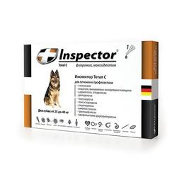 Inspector Капли для собак от 25 до 40 кг (капли от внешних и внутренних паразитов), 1 пипетка