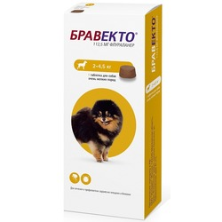 Intervet Бравекто жевательная таблетка от блох и клещей для собак 2-4,5кг, 112,5мг