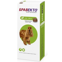 Intervet Бравекто жевательная таблетка от блох и клещей для собак 10-20кг 500мг