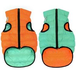 AiryVest Lumi светящаяся куртка двухсторонняя для собак (Collar), цвет оранжево-салатовый