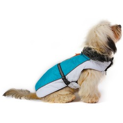 Нано куртка зимняя с меховым воротником «Aspen Parka» Dog Gone Smart, голубая с белым