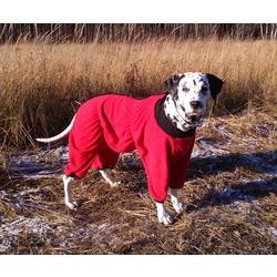 Osso комбинезон для собак из флиса, для сук (цвет красный/бордо), застежка липучка