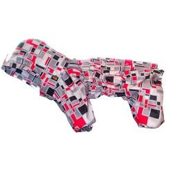 Комбинезон-дождевик для собак, двухслойный, спинка 31 см (Зоопрестиж), цвет серый в клетку