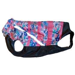 Зоофантазия теплая попона, цвет розовый с рисунком, серый низ, девочка, спинка 38 см