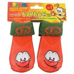 Барбоски носки с высоким латексным покрытием для собак, 4 шт., цвет оранжевый NEW